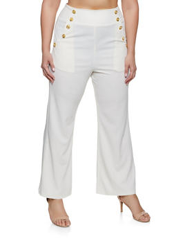 Plus Size High Waisted Sailor Dress Pants - 1861056571436