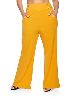 Plus Size High Waisted Sailor Dress Pants - 1861056571436
