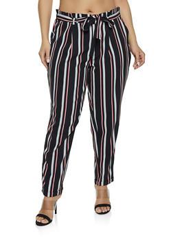 Plus Size Striped Tie Front Dress Pants - 1861056571606