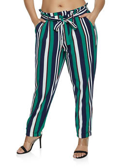 Plus Size Striped Fixed Cuff Pants - 1861056571609