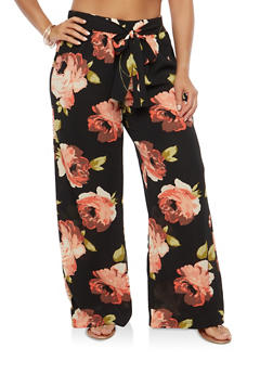 Plus Size Floral Tie Front Palazzo Pants - 1861056574268