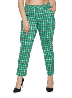 Plus Size Plaid Dress Pants - 1861056574433