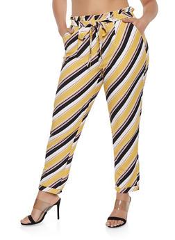 Plus Size Belted Diagonal Stripe Pants - 1861056574472