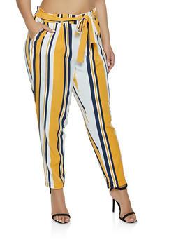 Plus Size Fixed Cuff Paper Bag Waist Pants - 1861056576089