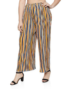 Plus Size Striped Crinkled Palazzo Pants - 1861056579102