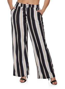 50145907176 Plus Size Tie Waist Striped Palazzo Pants - 1861060580005