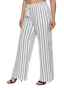 Plus Size Striped Palazzo Pants | White - 1861060580025