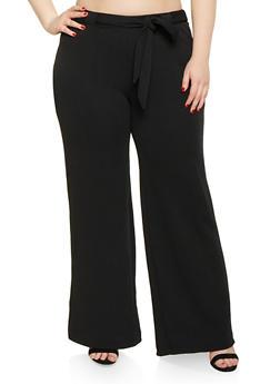 Plus Size Crepe Knit Palazzo Pants | 1861060580108 - Black - Size 1X - 1861060580108