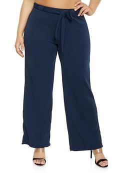 Plus Size Crepe Knit Palazzo Pants | 1861060580108 - 1861060580108