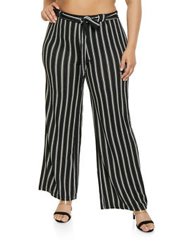 Plus Size Tie Front Striped Palazzo Pants - 1861060580116