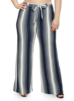 b27f6afe354 Plus Size Striped Tie Front Palazzo Pants