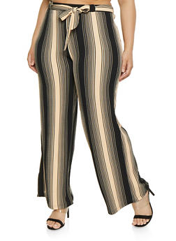 5404e699614 Plus Size Tie Front Striped Palazzo Pants
