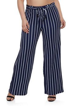 Plus Size Striped Textured Knit Palazzo Pants - 1861060580275