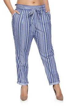 Plus Size Striped Tie Waist Pants - 1861060580321