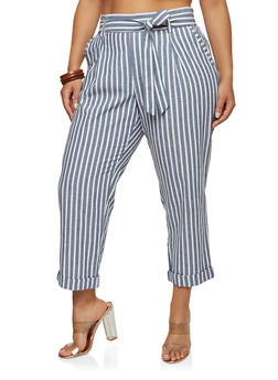 Plus Size Striped Ankle Pants - 1861060580349