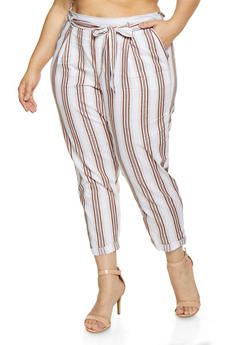 Plus Size Striped Roll Cuff Pants - 1861060580861