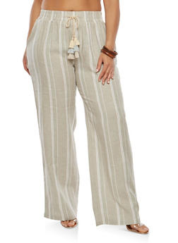 Plus Size Striped Linen Pants - 1861060582366
