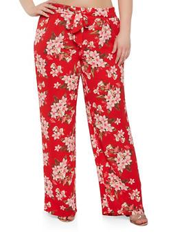 Plus Size Crepe Knit Floral Palazzo Pants - 1861060583410