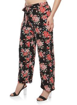 Plus Size Tie Belt Floral Palazzo Pants - 1861060586309