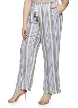 Plus Size Striped Linen Palazzo Pants | 1861060589992 - 1861060589992