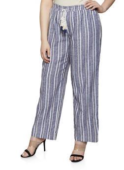 Plus Size Striped Linen Palazzo Pants | 1861060589993 - 1861060589993