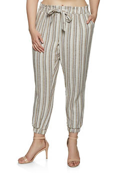 Plus Size Striped Linen Joggers | 1861060589995 - 1861060589995