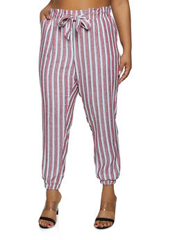 Plus Size Striped Linen Tie Front Joggers - 1861060589996