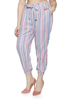 Plus Size Striped Tie Front Linen Joggers - 1861060589997