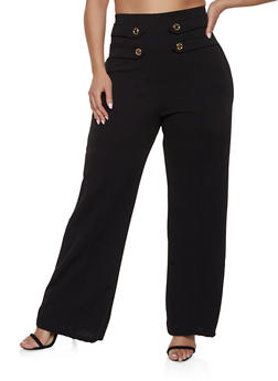 Plus Size High Waisted Sailor Pants - 1861062416729