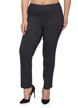 Plus Size Striped Pull On Dress Pants - 1861062706015