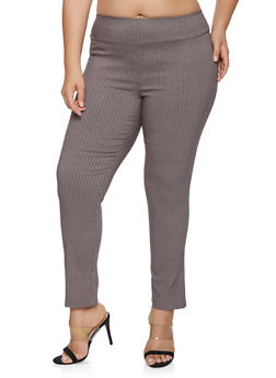 Plus Size Herringbone Print Pull On Pants - 1861062706017