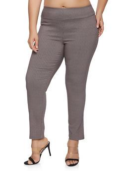 Plus Size Herringbone Print Pull On Pants - 1861062706017