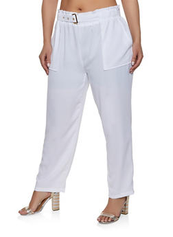 Plus Size Belted Pants | 1861062707228 - 1861062707228