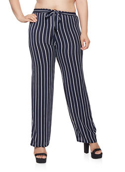 Plus Size Striped Tie Front Palazzo Pants - 1861063408870