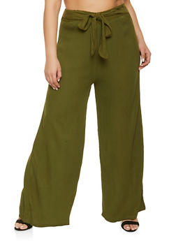 Plus Size Gauze Knit Palazzo Pants - 1861074010577