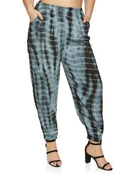 Plus Size Smocked Waist Gauze Knit Joggers - 1861074010579