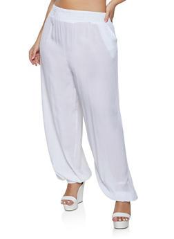 Plus Size Gauze Knit Joggers - 1861074010580