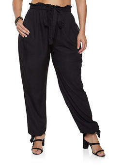 Plus Size Tie Leg Pants - 1861074015545