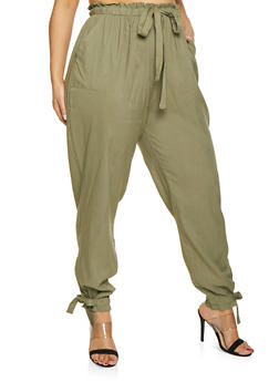 Plus Size Paper Bag Waist Pants - 1861074015983