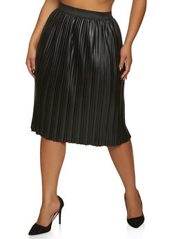 Plus Size Pleated Faux Leather Skirt - 1862020624913