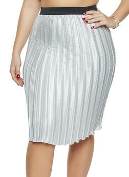 Plus Size Satin Pleated Skirt - 1862020624916