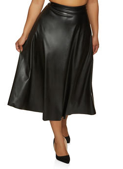 Plus Size Faux Leather Midi Skater Skirt - 1862020624922
