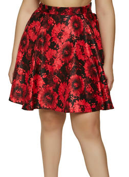 Plus Size Flower Print Skater Skirt - 1862020626374
