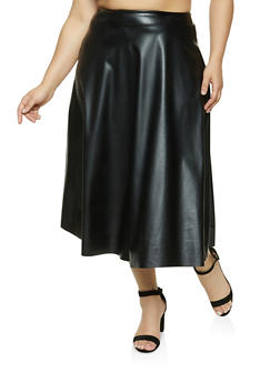 Plus Size Faux Leather Circle Skirt - 1862020628774