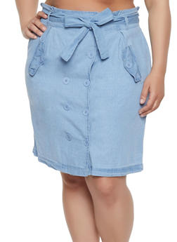 Plus Size Chambray Tie Waist Skirt - 1862038340221
