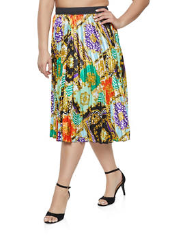 Plus Size Printed Pleated Skater Skirt - 1862051063643