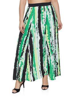 Plus Size Printed Maxi Skater Skirt - 1862051063668