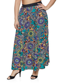 Plus Size Printed Maxi Skater Skirt - 1862051063668