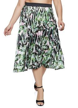 Plus Size Printed Pleated Skirt - 1862051066434