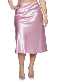 Plus Size Solid Satin Skirt - 1862060583874